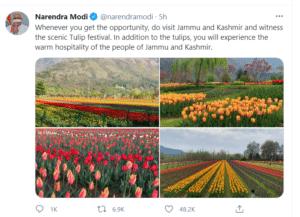 Narendra Modi tweet about Tulip Festival